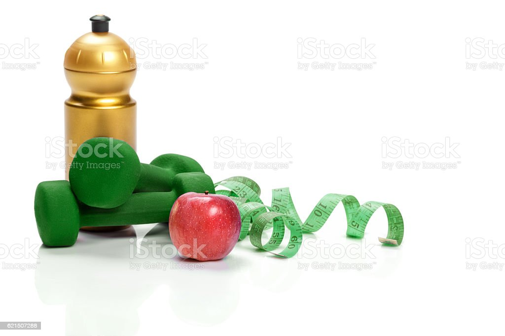 healthy eating, diet and weight loss. dumbbells, apple  water foto stock royalty-free