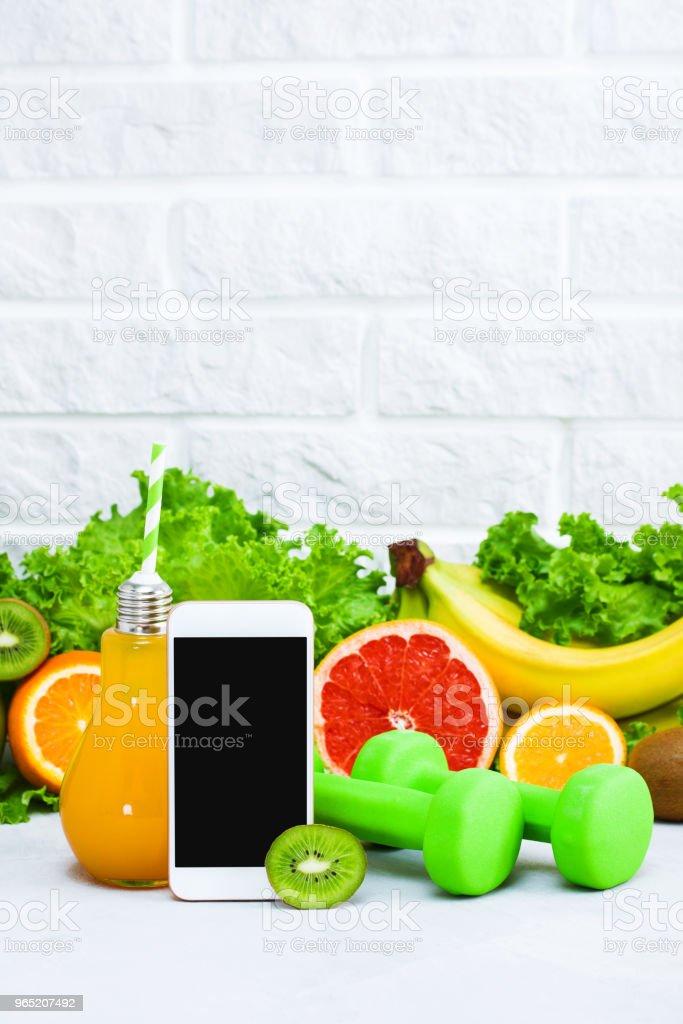 Healthy eating diet sport mobile phone application service website mockup zbiór zdjęć royalty-free