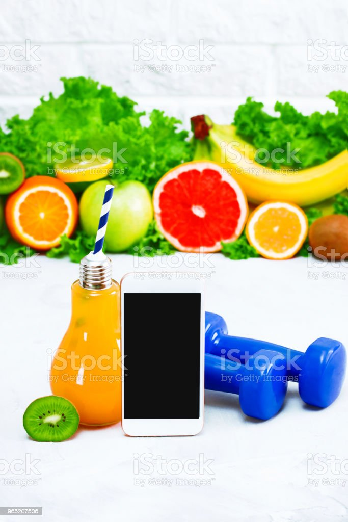 Healthy eating diet sport mobile phone application service website mockup royalty-free stock photo