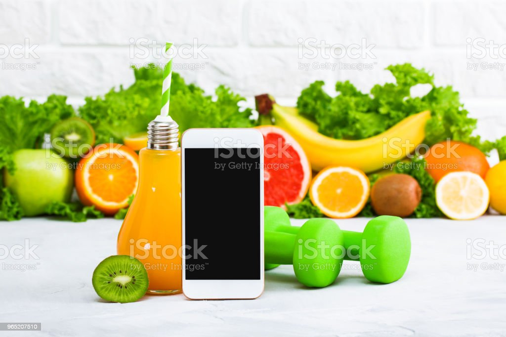 Healthy eating diet sport mobile phone application service website mockup zbiór zdjęć royalty-free