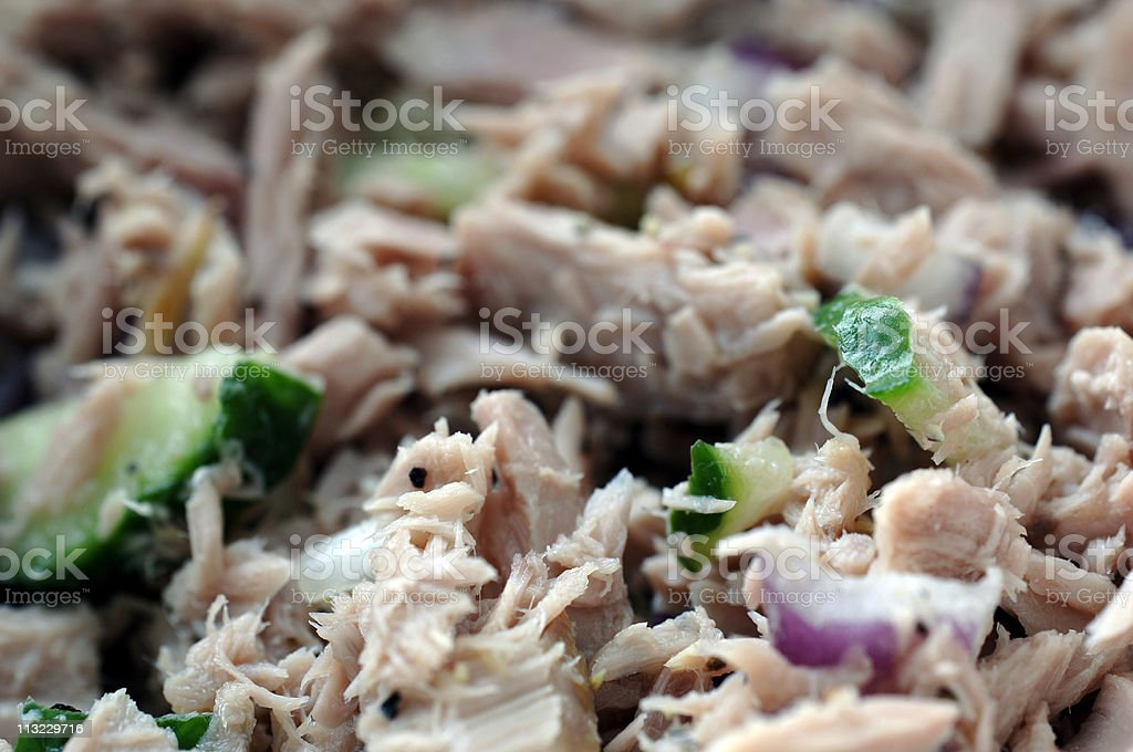 Healthy eating, diet, tuna salad, chopped cucumber, red onion royalty-free stock photo
