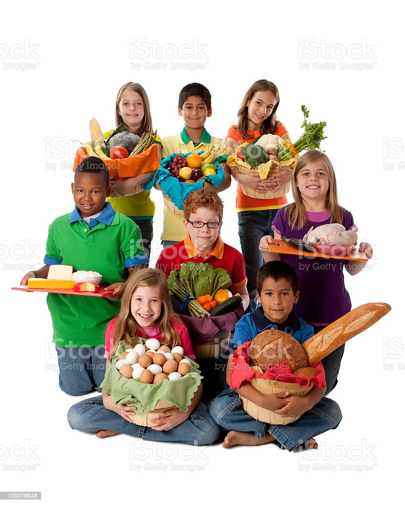 Healthy Eating:  Diverse Group Children Baskets Food Fruit Vegetables royalty-free stock photo