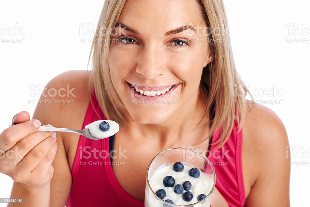 Healthy eating fit woman stock photo