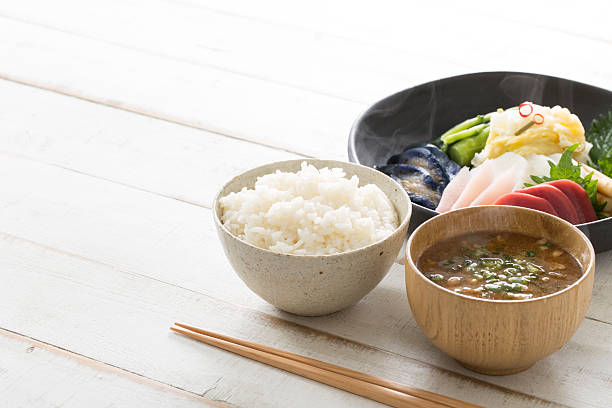 healthy eating in japan - washoku stockfoto's en -beelden
