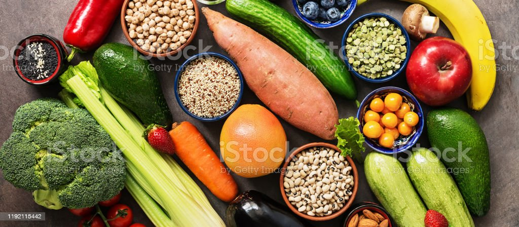 Healthy Eating Ingredients Banner Vegetables Fruits Legumesberries Cereals Seeds Vegan And Vegetarian Food The Concept Of Clean Eating Diet Top View Copy Space Stock Photo Download Image Now Istock