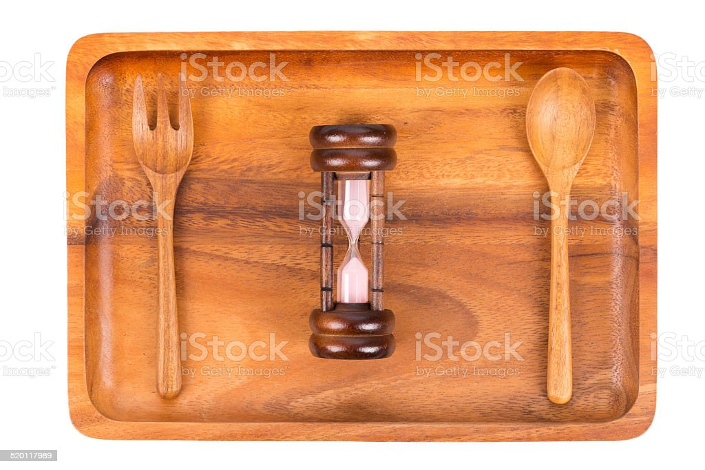Healthy eating or dieting concept. Empty wooden plate. sandwatch stock photo