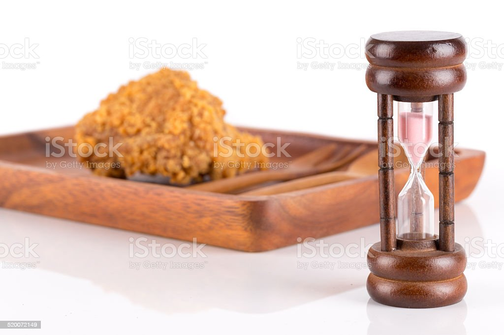 Healthy eating or dieting concept. fried chicken, spoon and fork stock photo