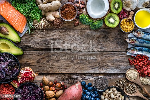 854725402 istock photo Healthy eating: selection of antioxidant group of food frame. Copy space 1182477424