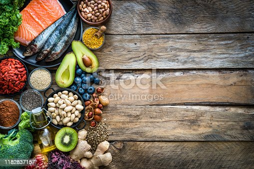 Top view of healthy, antioxidant group of food placed at the left border of a wooden table leaving useful copy space for text and/or logo at the center right. The composition includes food rich in antioxidants considered as a super-food like avocado, kale, blueberries, chia seeds, broccoli, different nuts, salmon, sardines, pollen, quinoa, hemp seeds, seaweed, cocoa, olive oil, goji berries, kiwi fruit, pistachio, seaweed, pinto beans, pomegranate and ginger. XXXL 42Mp studio photo taken with SONY A7rII and Zeiss Batis 40mm F2.0 CF