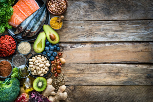 健康的な食事:食品フレームの抗酸化グループの選択。スペースのコピー - food and drink ストックフォトと画像