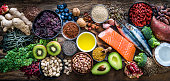 Top view of healthy, antioxidant group of food shot on rustic wooden table. The panoramic composition includes food rich in antioxidants considered as a super-food like avocado, kale, blueberries, chia seeds, coconut, broccoli, different nuts, salmon, sardines, pollen, quinoa, hemp seeds, seaweed, cocoa, olive oil, goji berries, flax seeds, kiwi fruit, pomegranate and ginger. XXXL 42Mp studio photo taken with SONY A7rII and Zeiss Batis 40mm F2.0 CF