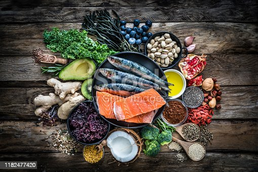 854725402 istock photo Healthy eating: selection of antioxidant group of food 1182477420