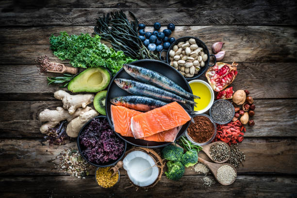 zdrowe odżywianie: wybór grupy antyoksydacyjnej żywności - białko zdjęcia i obrazy z banku zdjęć
