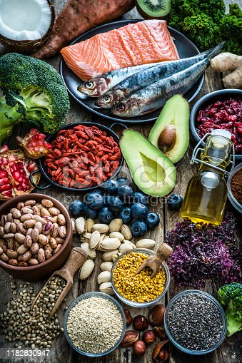 854725402 istock photo Healthy eating: selection of antioxidant group of food 1182830947