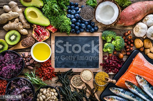 854725402 istock photo Healthy eating: selection of antioxidant group of food with copy space 1182477428