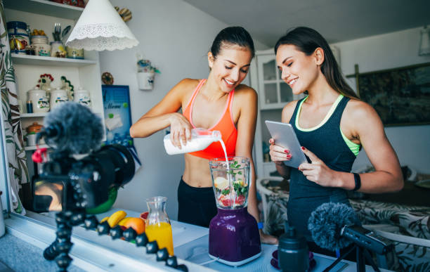 Healthy eating vlog stock photo
