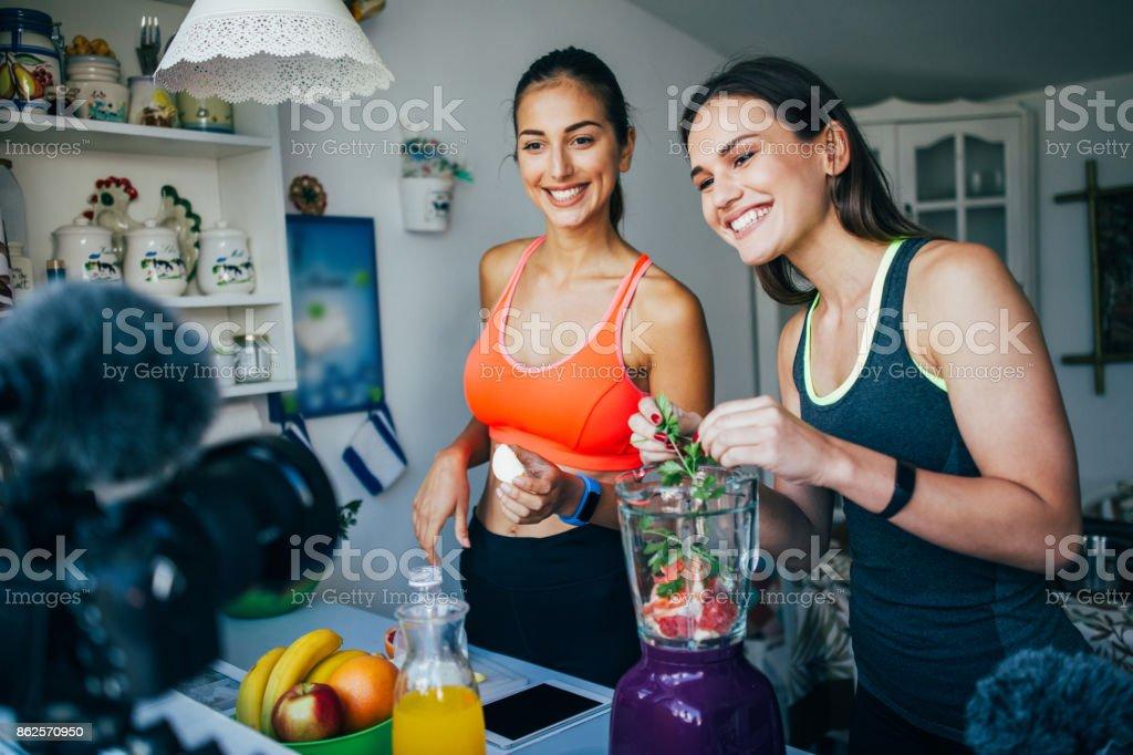 Healthy eating vlog stock photo