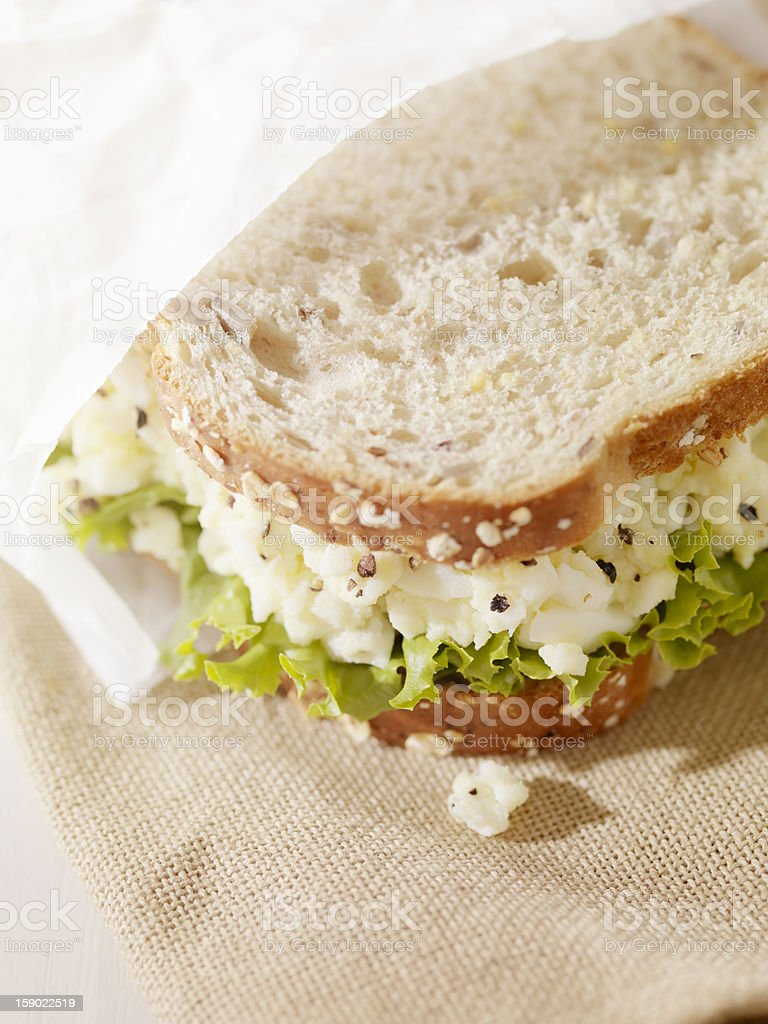 Healthy Egg Salad Sandwich on Multigrain Bread royalty-free stock photo