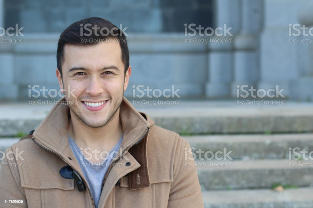 Healthy ethnic guy with a gorgeous smile stock photo