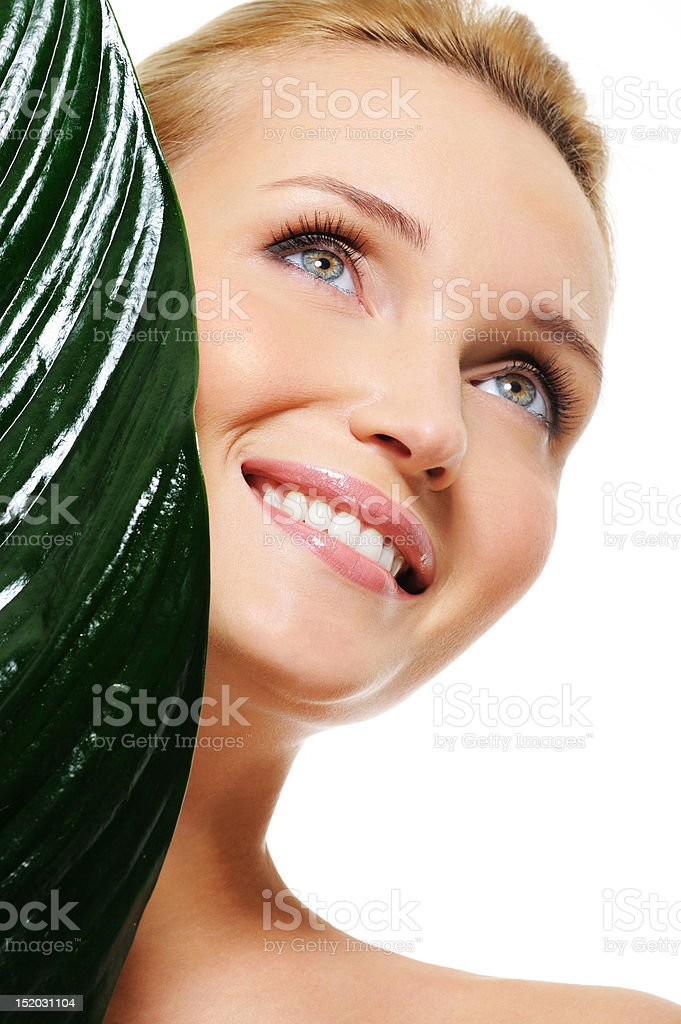 healthy face of a young beautiful happy laughing woman royalty-free stock photo