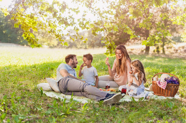 healthy family enjoying summer picnic in the nature - picnic foto e immagini stock