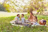 自然の中で健康家族楽しむサマー ピクニック