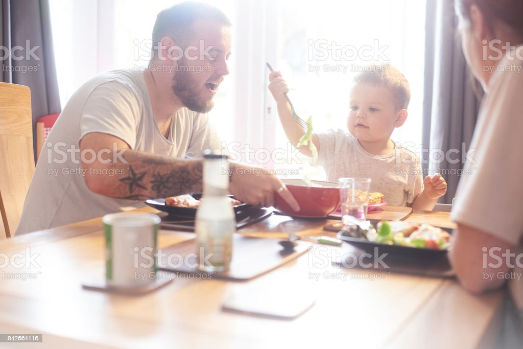 Healthy Family meal time stock photo