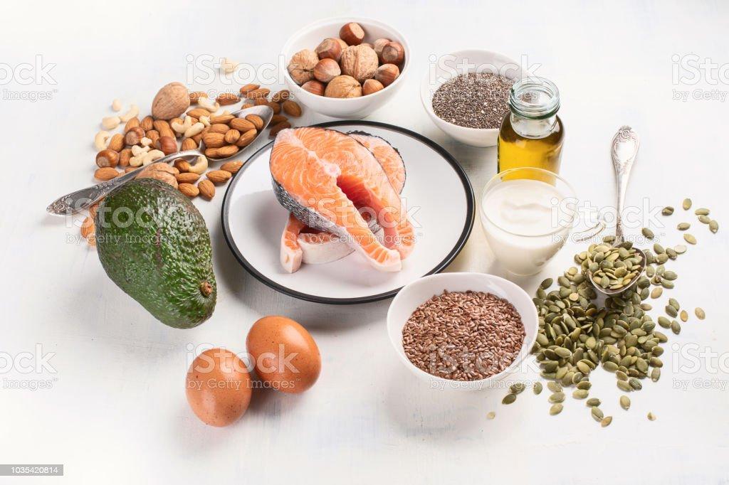 Healthy fat source. Healthy food concept