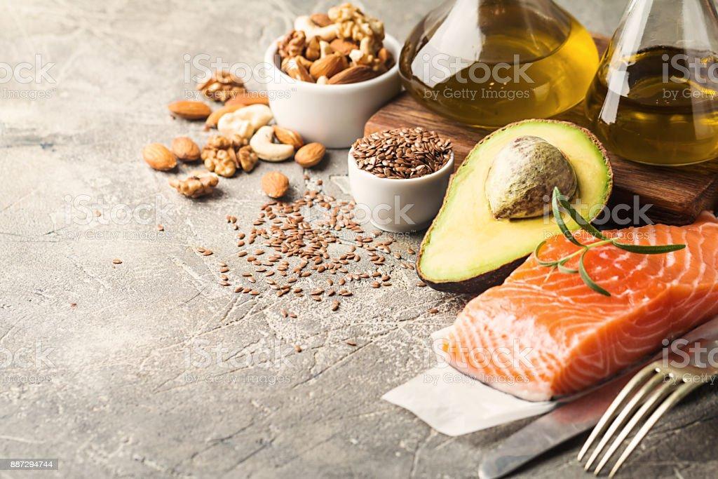 Grasas saludables en la alimentación. foto de stock libre de derechos
