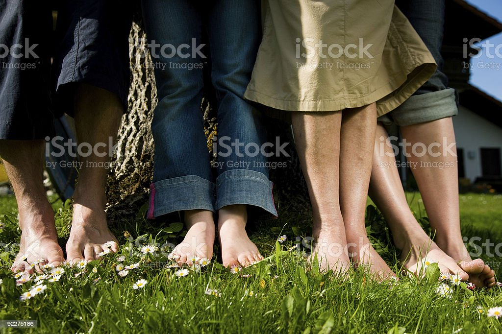 Healthy feet: In a row stock photo