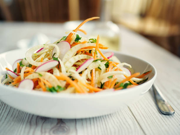 healthy fennel slaw - coleslaw stock pictures, royalty-free photos & images