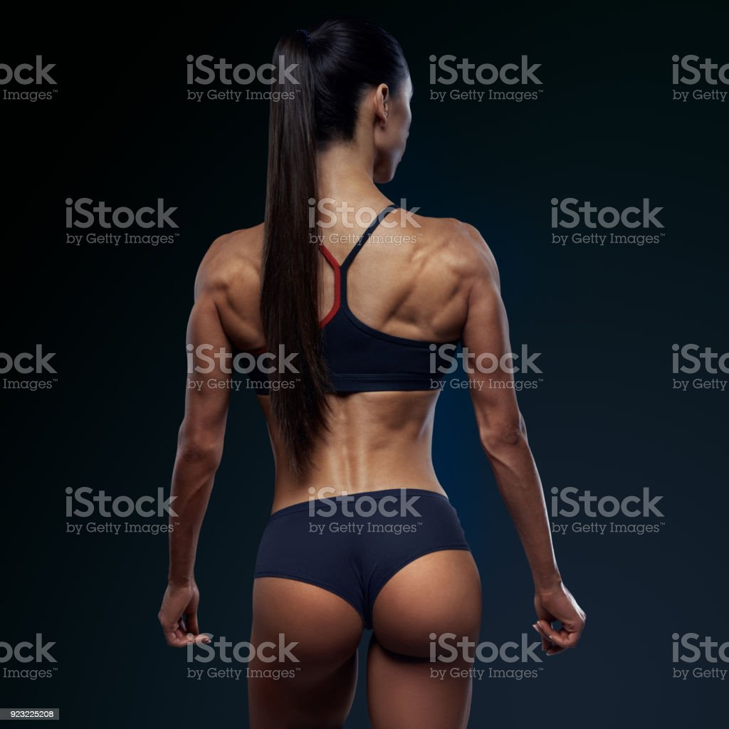 Healthy fit strong womans back stock photo
