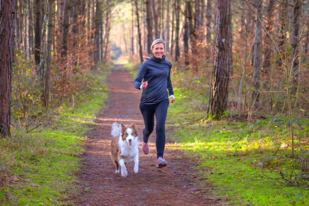 Healthy fit woman running with her dog stock photo