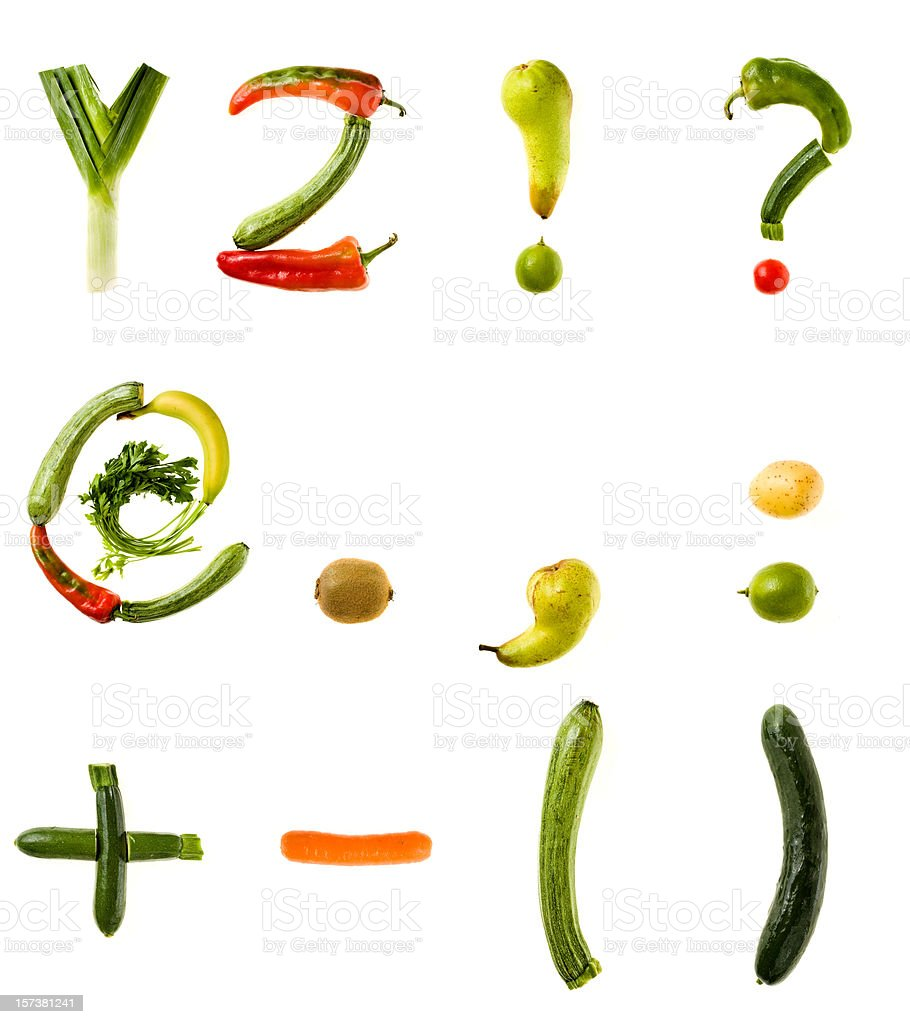 XXL Healthy Food Alphabet royalty-free stock photo