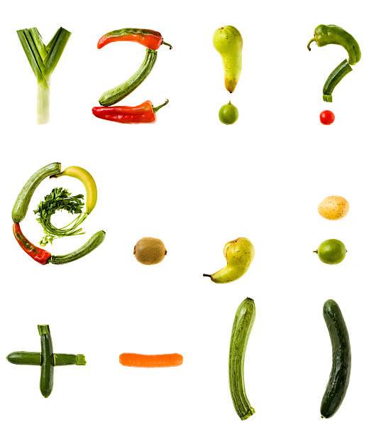 xxl gesunde speisen alphabet - komma stock-fotos und bilder