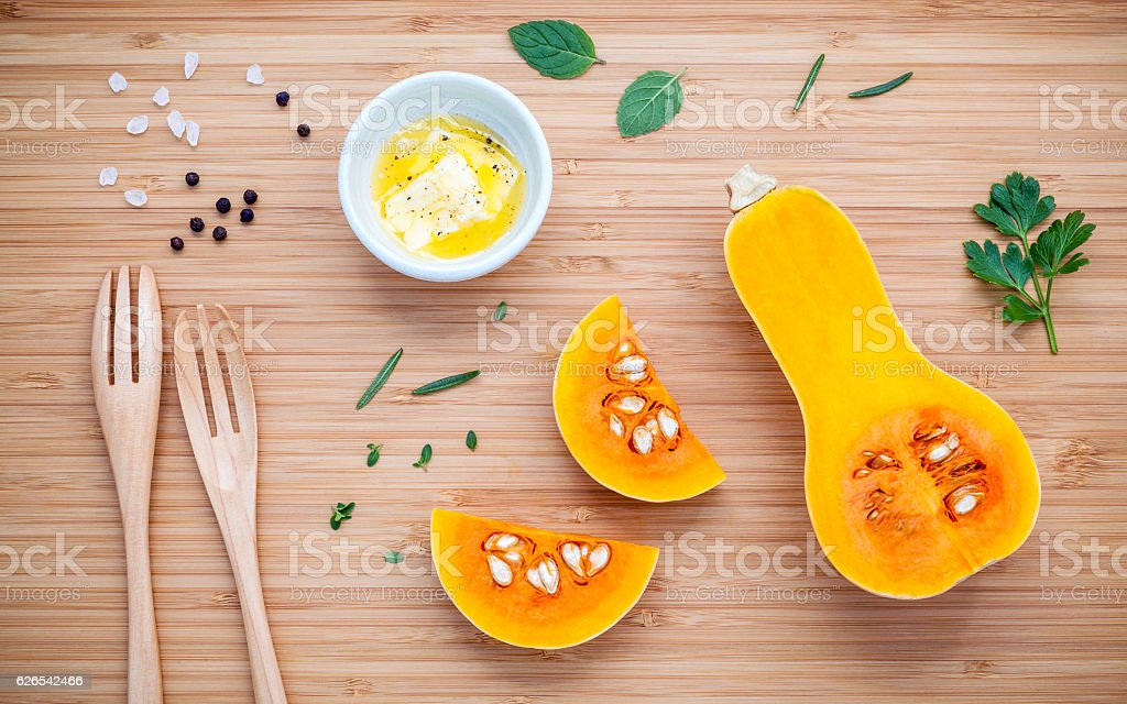 Healthy food and cooking concept. Ingredients for pumpkin soup o stock photo