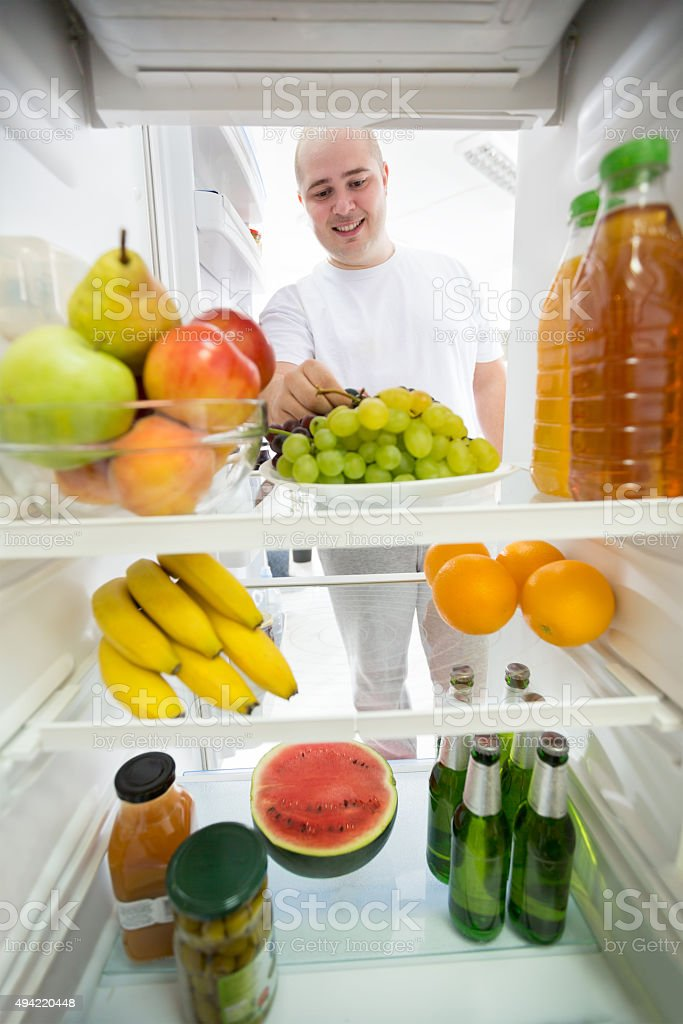 Healthy food and drink in fridge stock photo