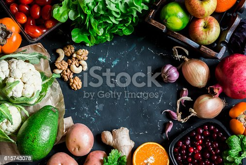 istock Healthy food background. Assortment of fresh vegetables and fruits 615743078