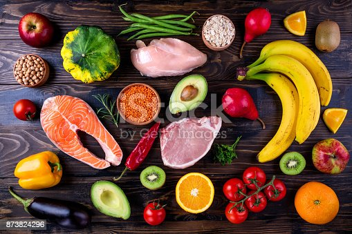 istock Healthy food background. Fish, meat, grains, vegetables, fruits on wooden table. Healthy food, diet and healthy life concept. Top view, flat lay 873824296