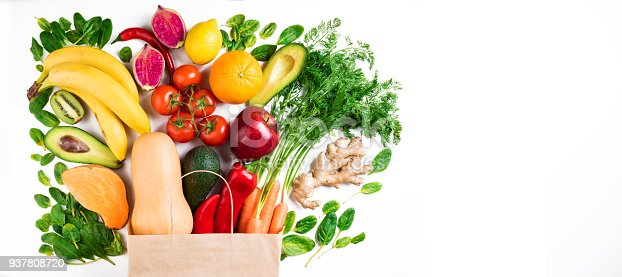 1126188273 istock photo Healthy food background. Healthy vegetarian food in paper bag fruits and vegetables on white background. Shopping food supermarket concept 937808720