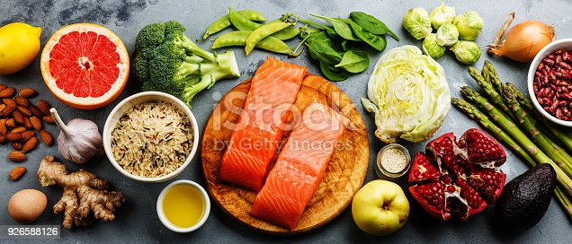 istock Healthy food clean eating selection: fish, fruit, vegetable 926588126