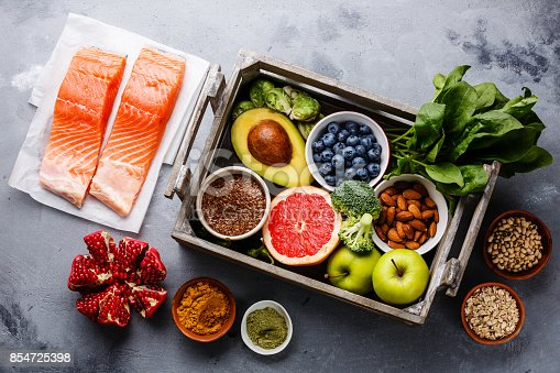 istock Healthy food clean eating selection in wooden box 854725398