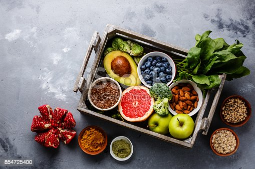 istock Healthy food clean eating selection in wooden box 854725400