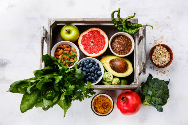 Healthy food clean eating selection in wooden box stock photo
