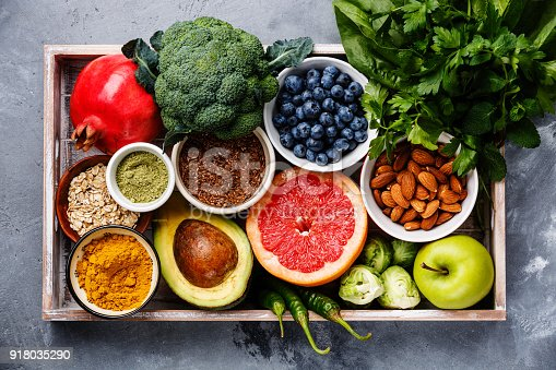 istock Healthy food clean eating selection in wooden box 918035290