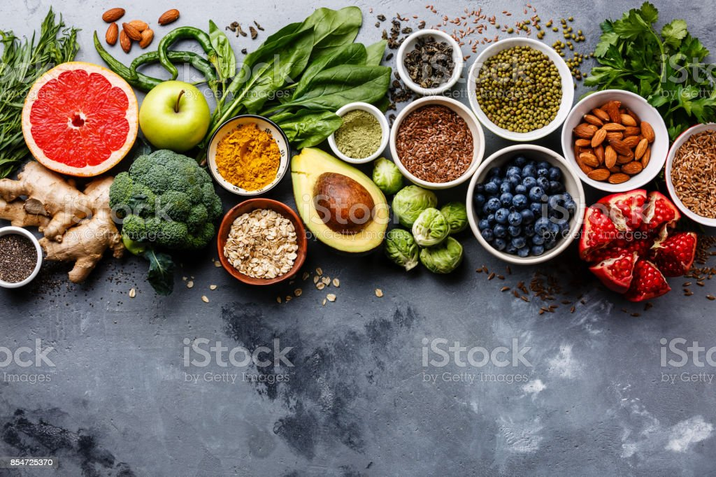 Healthy food clean eating selection royalty-free stock photo