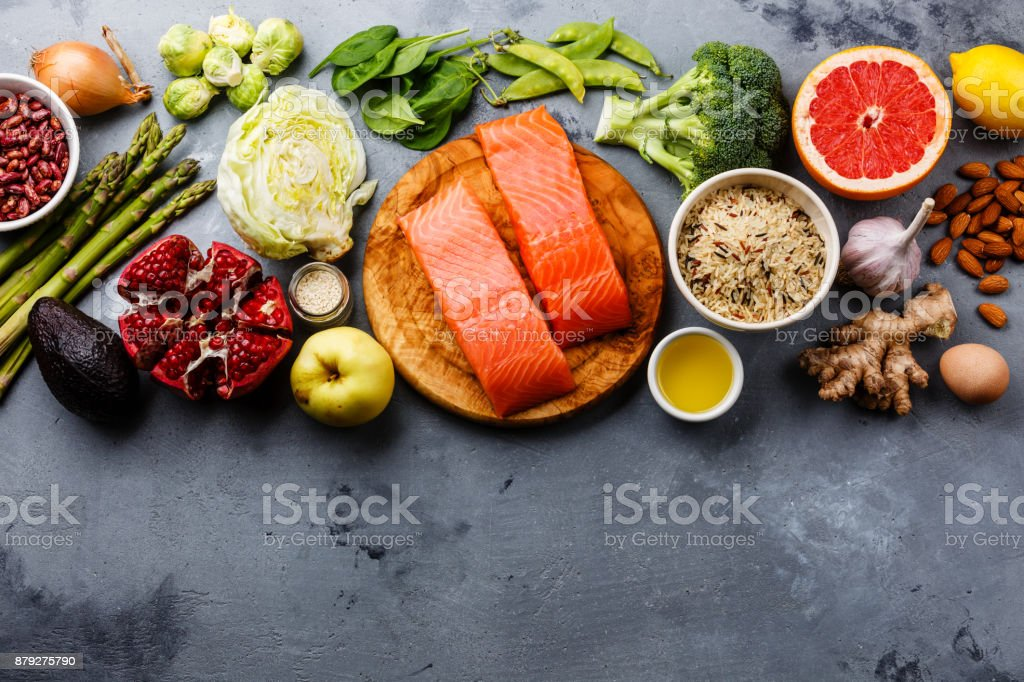 Healthy food clean eating selection stock photo