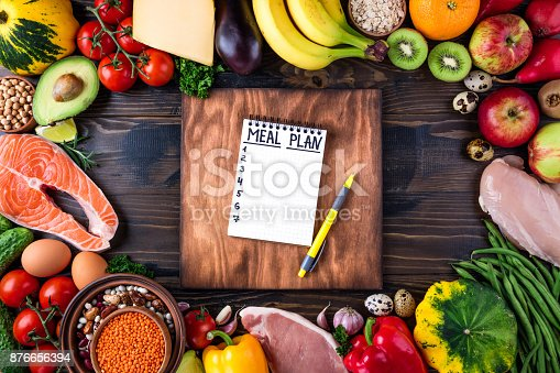 istock Healthy food concept. Fresh  vegetables, fruits, meat and fish on wooden table. Healthy eating and meal plan 876656394