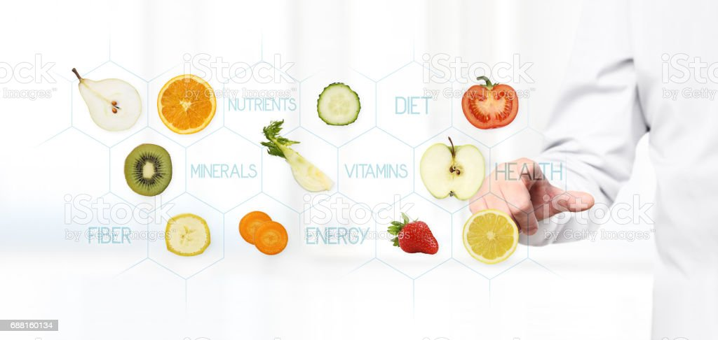 healthy food concept, Hand of nutritionist doctor pointing fruit stock photo
