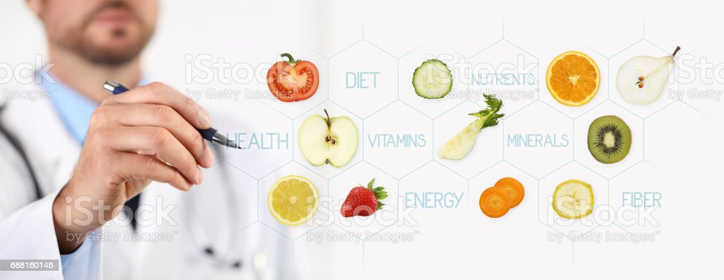 healthy food concept, Hand of nutritionist doctor pointing fruit with pen stock photo